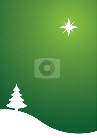 Christmas / New Year's Scene stock vector clipart, Vector illustration of a Christmas / New Year's scene with a Christmas tree and a bright shining star by Inge Schepers