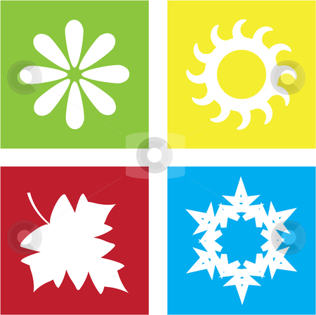 Four Seasons stock vector clipart, Vector illustration of four different symbols representing the four seasons by Inge Schepers