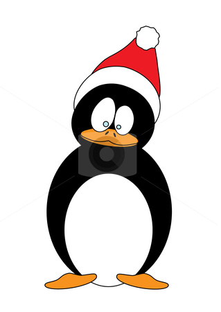 Christmas Penguin stock vector clipart, Vector illustration of a Christmas Penguin with Christmas hat, using very simple shapes by Inge Schepers