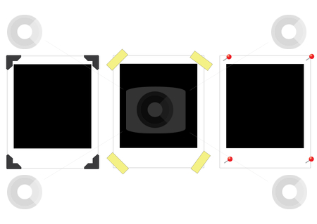 Polaroids stock vector clipart, Vector illustration of a set of three different polaroids, which the buyer can use as frames.  The one of the left has so-called photo corners for sticking it in an album, the one in the middle has pieves of tape, and the one on the right has little red pins by Inge Schepers