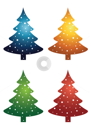 Christmas Trees stock vector clipart, Vector illustration of a set of Christmas trees in four different colors by Inge Schepers