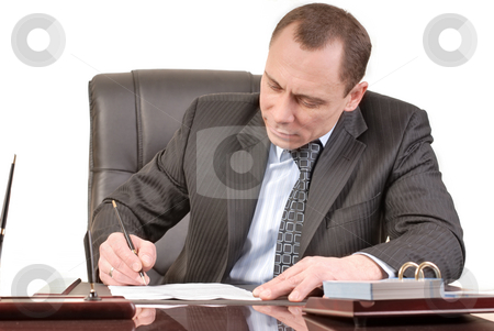 Signing papers stock photo, Man has a good mood signature documents by Vadim Maier