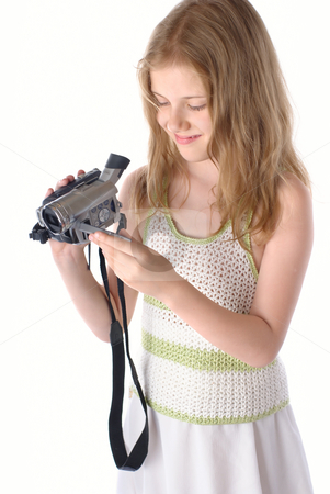 Little girls with video camera stock photo, Little girls with video camera,Isolated On White by Vadim Maier