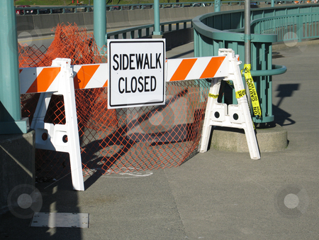 Sidewalk closed sign stock photo,  by Mbudley Mbudley