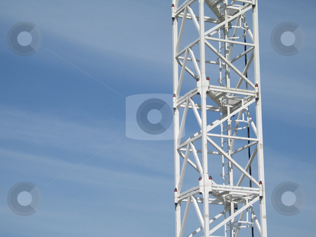 White construction crane stock photo,  by Mbudley Mbudley
