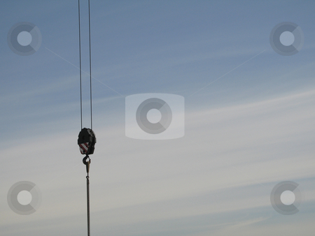 Construction crane pulley stock photo,  by Mbudley Mbudley