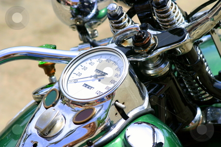 Motorcycle stock photo, Top view of a classic green motorcycle by Henrik Lehnerer