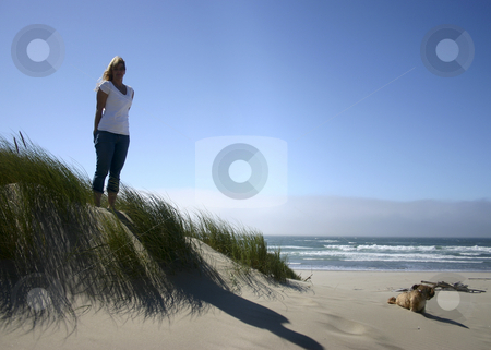 Beauty Beach stock photo, Woman standing on the beach with her dog to the right. by Nikki Rose