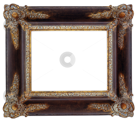 Picture frame stock photo, Gold square antique picture frame cutout art craft by Csaba Zsarnowszky
