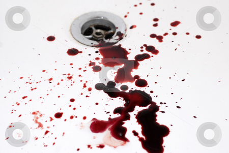 Suicide stock photo, Human blood in a bathroom: suicide in a tub by Bonzami Emmanuelle
