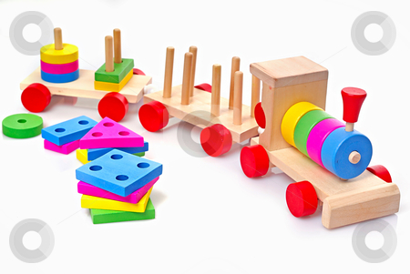 Toy Train stock photo, Toy wooden train for tot of the younger age by Vadim Maier