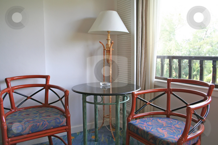 Chairs hotel room stock photo, Casual chairs relaxing area in hotel room by Kheng Guan Toh
