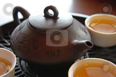 Chinese tea service stock photo, Traditional chinese tea service with ceramic pot and stand by Kheng Guan Toh