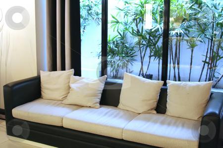 Modern elegant room stock photo, Living room waiting room with elegant modern black and white design by Kheng Guan Toh