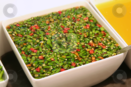 Chopped chillis stock photo, Chopped chillis in soya sauche traditional asian cuisine by Kheng Guan Toh