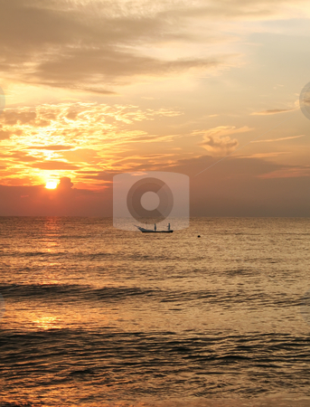 Sunrise fishing boat stock photo, Golden sunrise of the coast of Malaysia with silhouette of fishing boat by Kheng Guan Toh