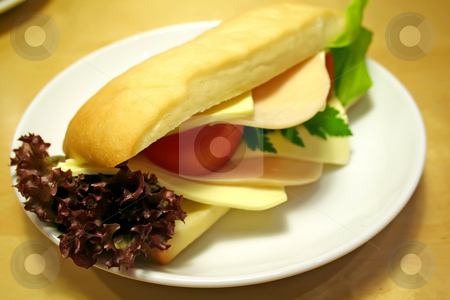 Sandwich stock photo, Ham and cheese sadwich on ciabatta bread by Kheng Guan Toh