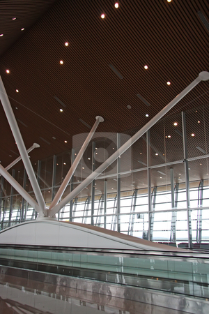 Airport interior stock photo, Airport architecture interior with travelator KLIA Malaysia by Kheng Guan Toh