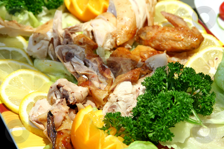 Roast chicken stock photo, Chopped roast chicken parts in restaurant presentation by Kheng Guan Toh