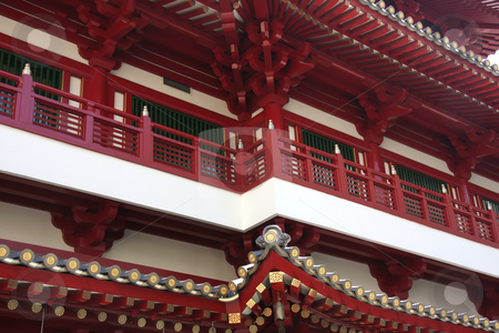 Traditional chinese temple stock photo, Architectural detail of  traditional chinese temple  red and white by Kheng Guan Toh