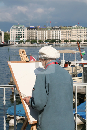 Elderly artist stock photo, Elderly artist painting on blank easel by the lakeside by Kheng Guan Toh