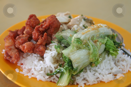 Chinese rice stock photo, Chinese mixed rice assorted dishes meat and vegetables by Kheng Guan Toh
