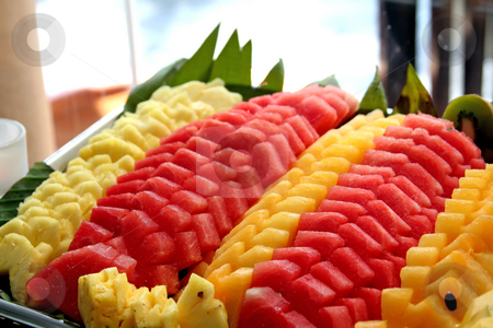 Tropical fruits stock photo, Platter of cut tropical fruits watermelon pineapple by Kheng Guan Toh