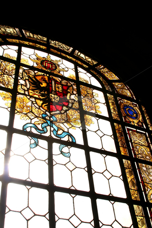 Stained glass window  stock photo, Stained glass window with crest in Geneva, Switzerland by Kheng Guan Toh