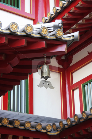 Traditional chinese temple stock photo, Architectural detail of  traditional chinese temple hanging bell ornament by Kheng Guan Toh