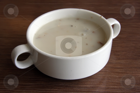 Mushroom soup stock photo, Cream of mushroom soup in white ceramic bowl by Kheng Guan Toh