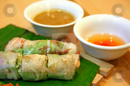 Vietnamese spring rolls stock photo, Traditional vietnamese spring rolls appetizer side dish by Kheng Guan Toh