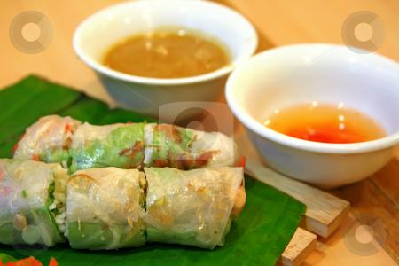 Vietnamese spring rolls stock photo, Traditional vietnamese spring rolls appetizer side dish by Kheng Guan Toh