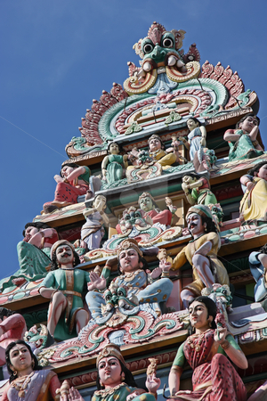 Hindu temple stock photo, Ornate statues in indian temple depicting hindu gods by Kheng Guan Toh
