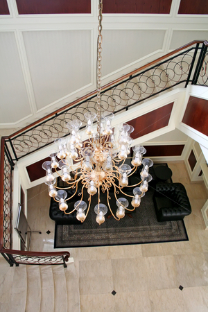 Elegant chandelier stock photo, Elegant chandelier and staircase luxurious interior design by Kheng Guan Toh