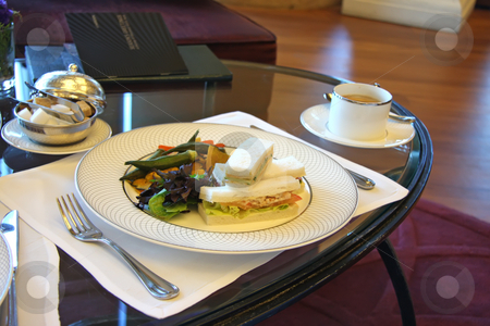 Afternoon tea stock photo, Classic british afternoon tea with finger sandwiches by Kheng Guan Toh