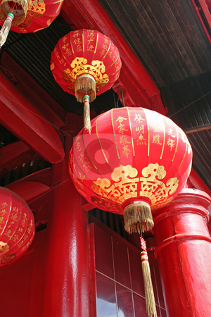 Chinese temple stock photo, Traditional chinese temple decorated with many red lanterns by Kheng Guan Toh