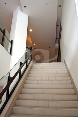 Modern staircase stock photo, Modern glass and steel staircase bright airy by Kheng Guan Toh