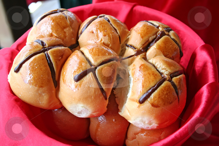 Hot cross buns stock photo, Hot cross buns in a basket in restaurant buffet by Kheng Guan Toh