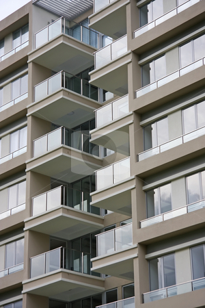 Modern apartments stock photo, Modern apartment buildings closeup of glass balconies by Kheng Guan Toh