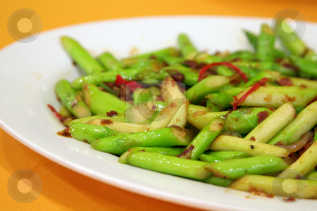 Fried asparagus stock photo, Plate of fried asparagus traditional chinese cuisine by Kheng Guan Toh