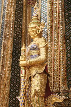Thai guardian statue stock photo, Guardian statue in Emerald buddha temple in Bangkok thailand by Kheng Guan Toh