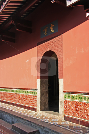 Chinese entrance stock photo, Entrance to chinese building traditional style old fashioned red wall by Kheng Guan Toh