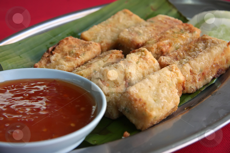 Fried tofu stock photo, Fried tofu beancurd with dipping sauce traditional chinese cuisine by Kheng Guan Toh