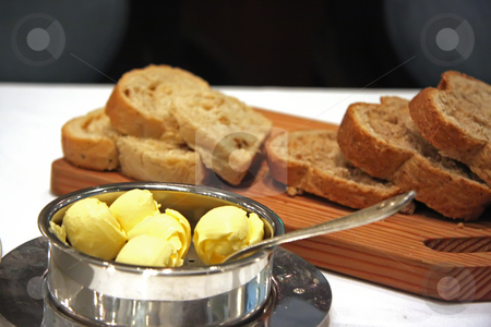 Bread tray stock photo, Bread tray with better served in luxury restaurant by Kheng Guan Toh