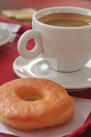 Coffee and donut stock photo, Coffee and a donut on plastic tray by Kheng Guan Toh
