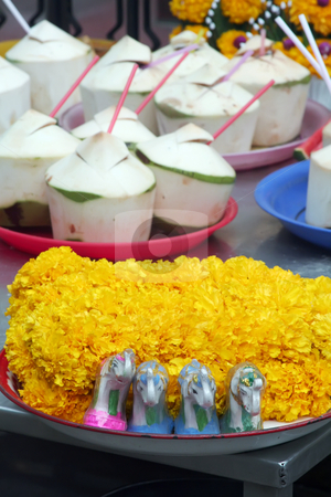 Thai buddhist offerings stock photo, Shrine offerings of flowers and coconuts in a Thai Buddhist temple by Kheng Guan Toh