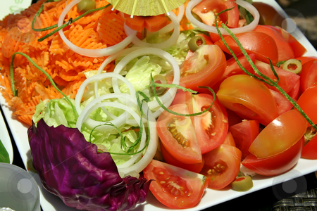 Salad stock photo, Sliced tomato lettuce salad fresh raw vegetables by Kheng Guan Toh