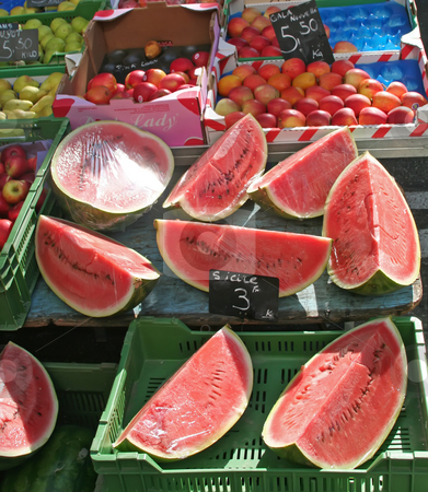 Market watermelon stock photo, Cut watermelon for sale in a swiss market by Kheng Guan Toh