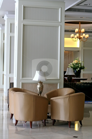 Sofa waiting room stock photo, Elegant waiting area living room with sofas by Kheng Guan Toh