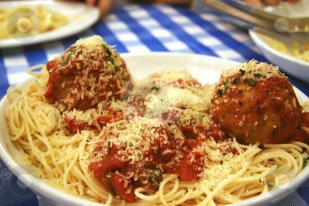 Spaghetti and meatballs stock photo, Dish of spaghetti and meatballs italian cuisine pasta by Kheng Guan Toh